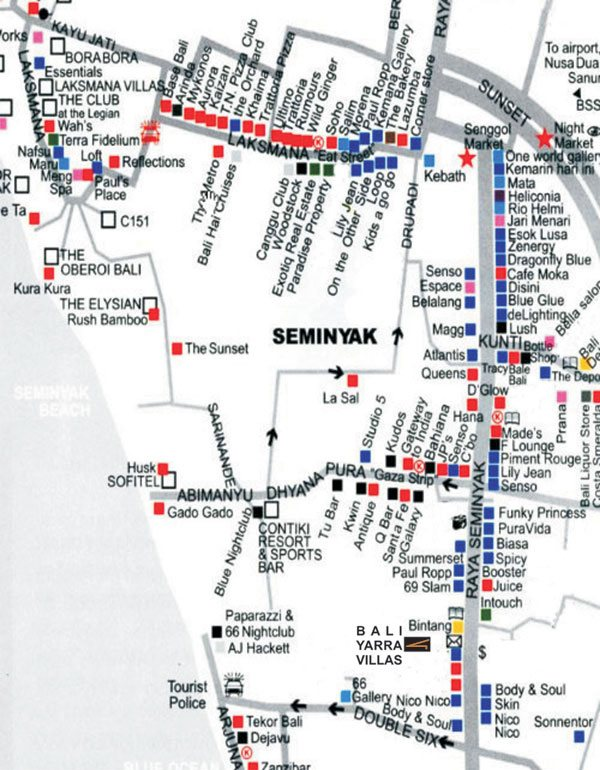 Checkout Seminyak Location Map Bali Yarra Villas